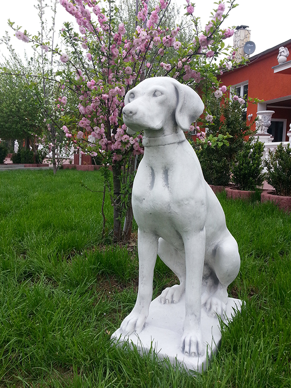 gartenfiguren jagdhund 70 cm steinguss hund tierfiguren statuen gartendeko ebay. Black Bedroom Furniture Sets. Home Design Ideas