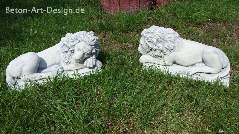 gartenfiguren l wen links und rechts 22 cm steinguss l wen beton art design ebay. Black Bedroom Furniture Sets. Home Design Ideas